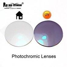 1.56 1.61 1.67 Photochromic Tròng Kính Màu Xám Nâu Kính Mát Ống Kính Cận Thị Ống Kính Nhựa Chống TIA UV Discolor Trong Nhà Trong Suốt