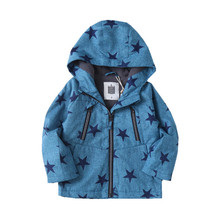 Autumn New Fashion Hooded Feece Child Coat Pentagram Print Baby Boys Jackets Children Outerwear Kids Outfits For Height 90-140cm недорого