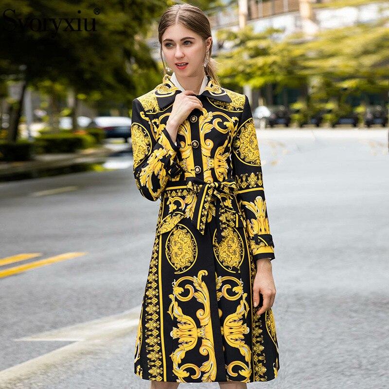 Svoryxiu Designer Autumn Winter Long Trench Coat Women's Long Sleeve Single Breasted Luxury Printed Overcoat Outwear Female