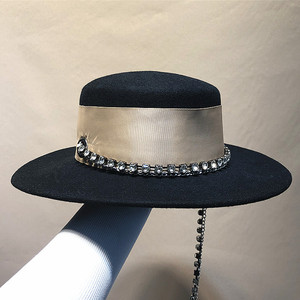 Image 3 - 01908 jinri 67  Celebrities girl lady  Metal Chain  fedoras  cap  women formal  dinner  panama  hat
