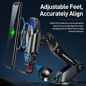 Image 5 - Baseus Draadloze Autolader Voor Iphone Xs Max Xr X 8Plus Licht Elektrische 2 In 1 Draadloze Oplader 15W Auto Houder Voor Huawei P30Pro