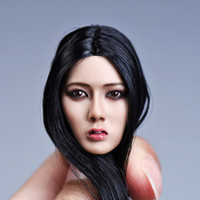 YMTOYS 1/6 Scale Asia Girl Head Sculpt Carved Model Black Long Hair Fit For 12'' 12inch Female Action Figure Body Dolls Gifts