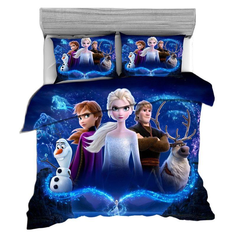 Disney Bedding Set Queen King Bedding Set Children Girls Bedroom Decoration Down Quilt Cover Pillowcase Home Textile Frozen