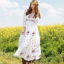 Khale Yose Summer Bohemian Dress V-Neck Sexy Floral Embroidery Women Maxi Beach Dresses Hippie Gypsy Cotton White Dress
