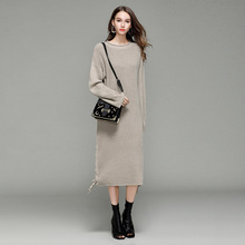 Fashion Women Sweater Dress Long Sleeve O-Neck Solid Ladies Mid-Calf Streetwear Casual Autumn Winter Knitted Dress Robe Femme