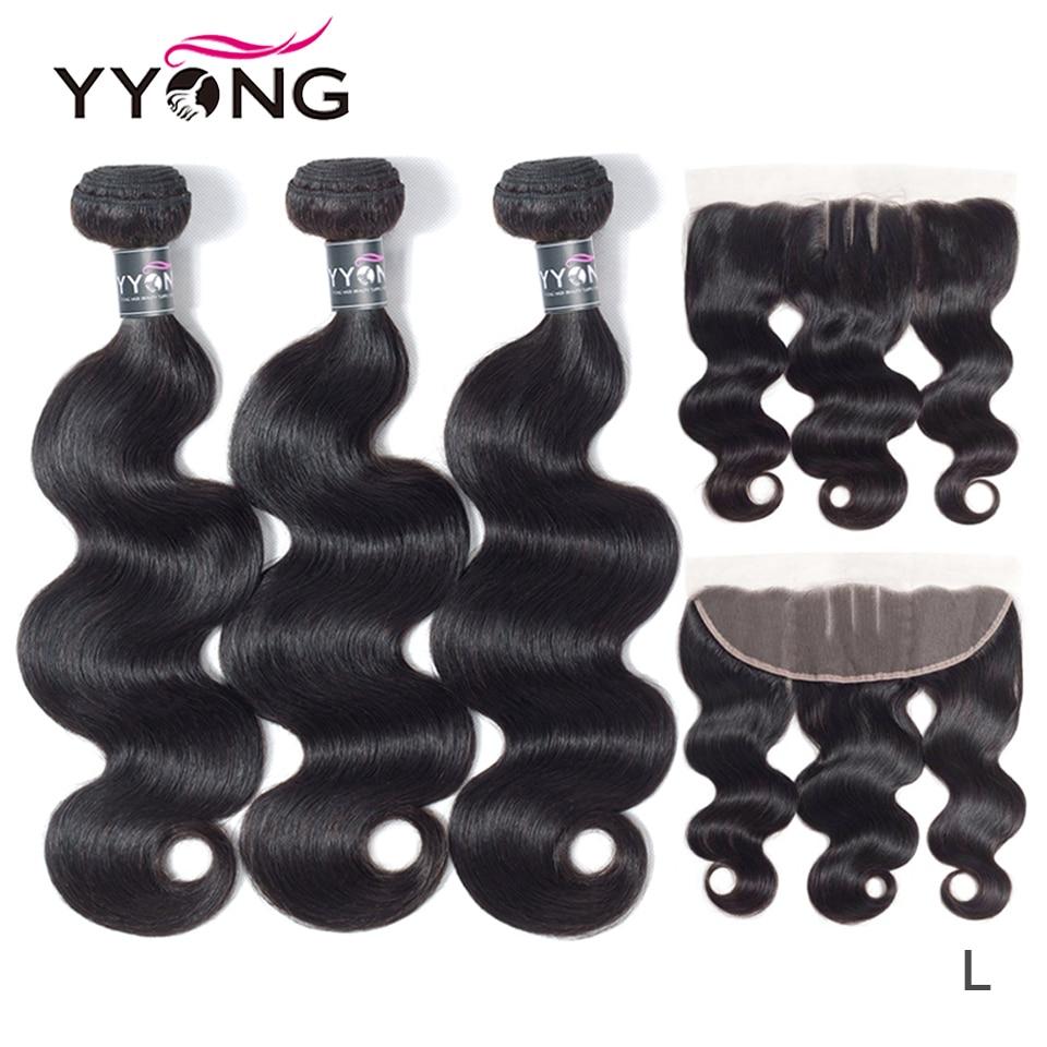 Yyong Hair   Hair Bundles With Frontal Body Wave  Bundles 3 Bundels With Lace Frontal  Hair 1