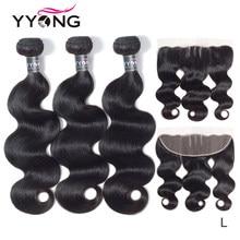 Yyong extensión del cabello peruano mechones con Frontal de la onda del cuerpo extensiones de cabello humano mechones 3 Bundels con Frontal de encaje de pelo Remy