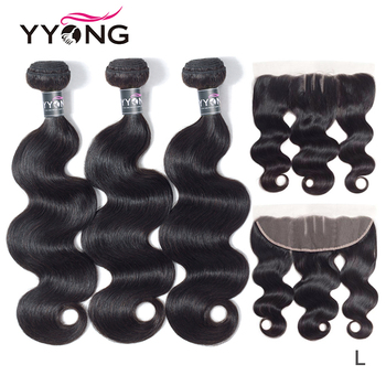 Yyong Hair Extension Peruvian Bundles With Frontal Body Wave Human 3 Bundels Lace Remy - discount item  47% OFF Human Hair (For Black)
