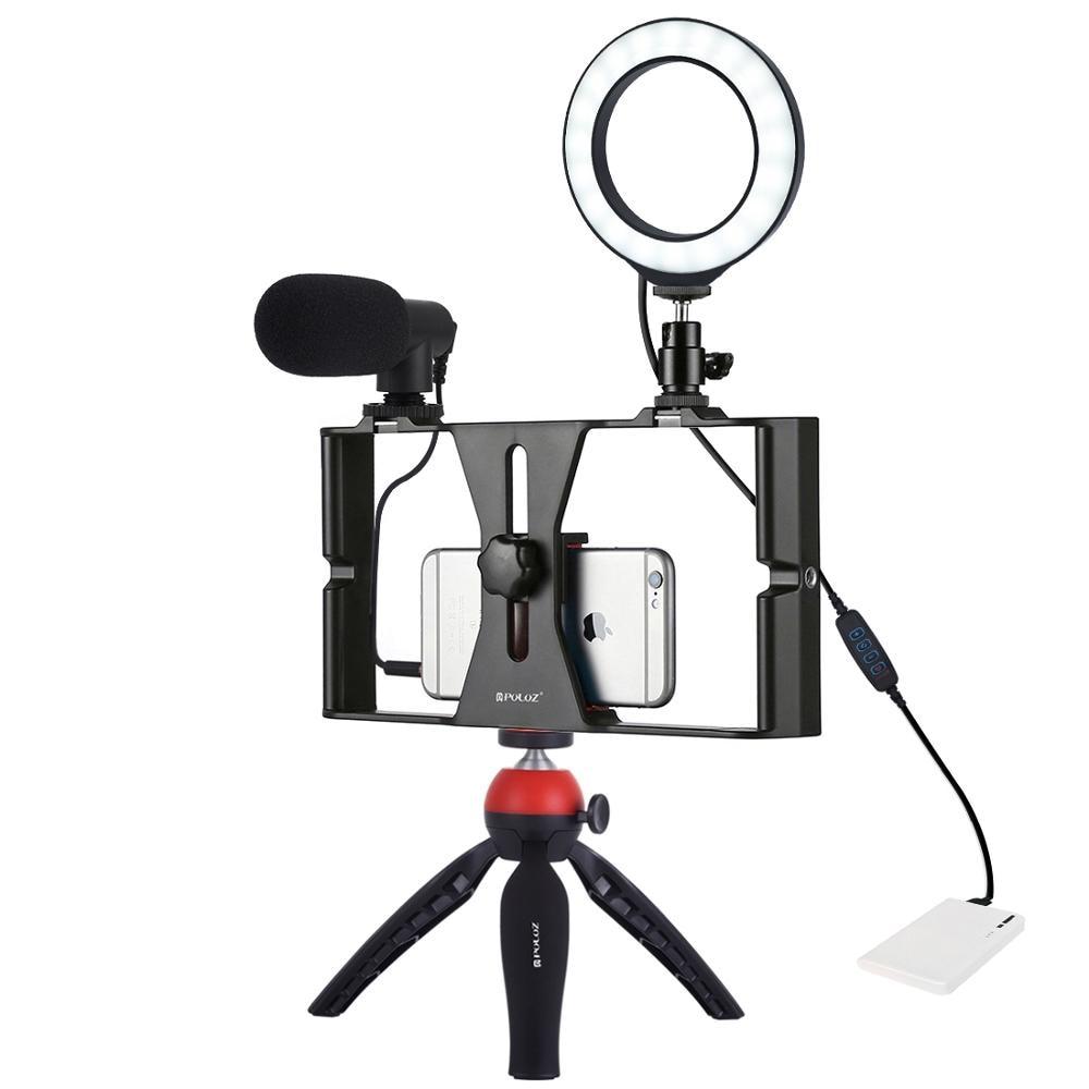 PULUZ 4 en 1 vlog diffusion en direct appareil vidéo pour Smartphone + 4.6 pouces anneau LED lumière vidéo et Microphone + montage sur trépied + tête de trépied