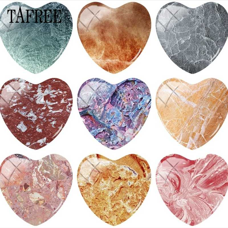 TAFREE Luxury Glossy Granite Stone Marble Texture Heart 25mm Glass Cabochon Dome Marble Texture Picture Cameo Settings Jewelry