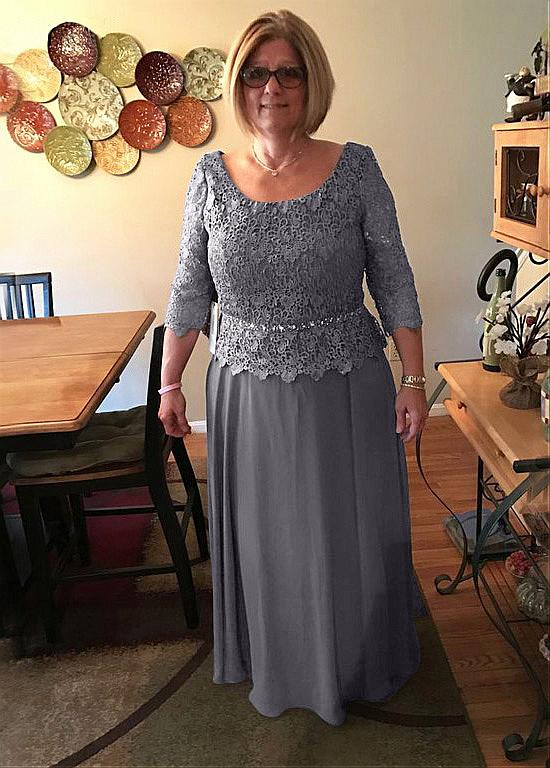 Gray Mother Of The Bride Dresses A-line 3/4 Sleeves Chiffon Lace Beaded Plus Size Long Groom Mother Dresses For Weddings