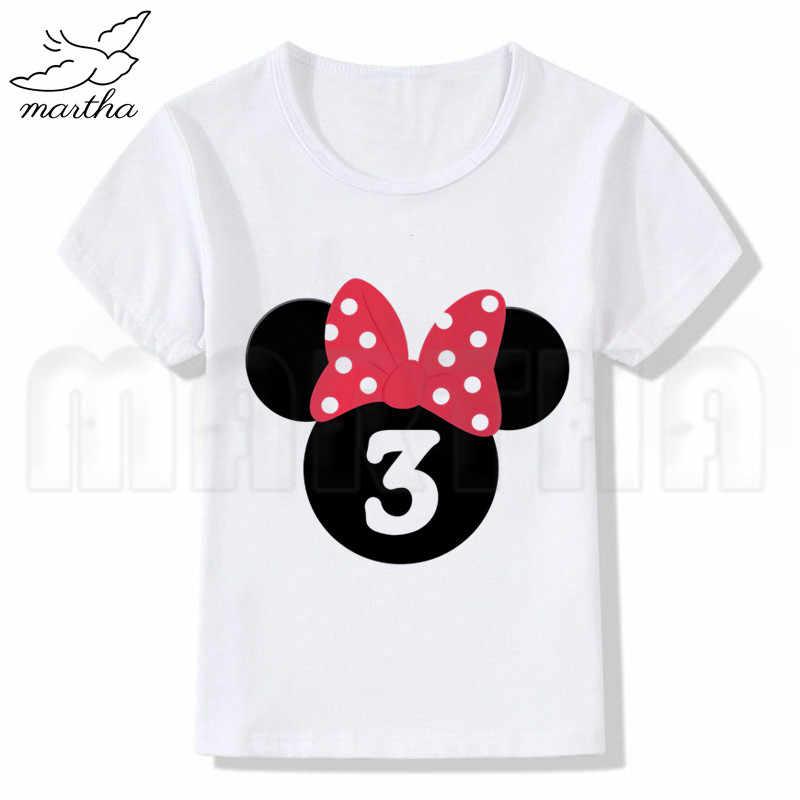 Crianças T-shirt Crianças Feliz Aniversário 2-10 Número de Impressão T Camisa Dos Desenhos Animados Mickey Mouse Crianças Feliz Aniversário Topos Brancos