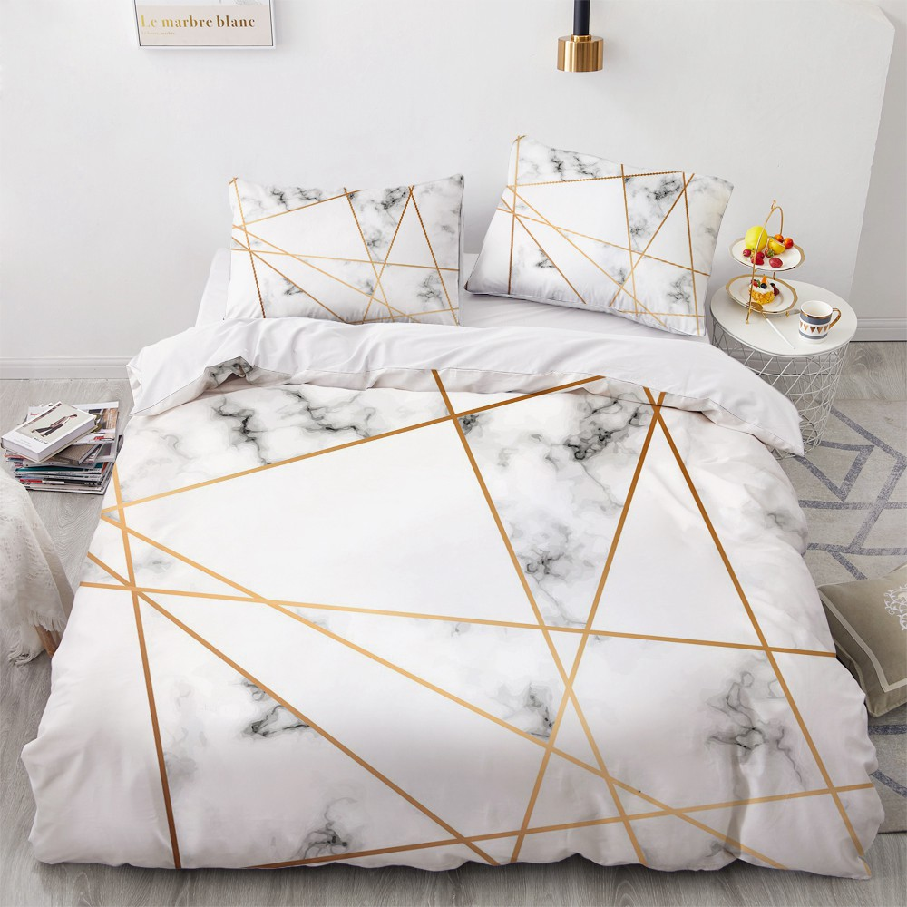 Simple Bedding Sets 3D Marbling Duvet Quilt Cover Set Comforter Bed Linen Pillowcase King Queen Full Double Home Texitle