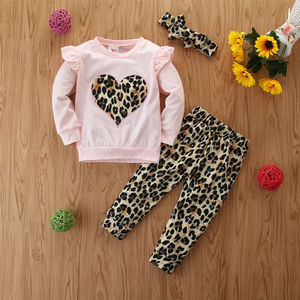 2020 Baby Spring Autumn Clothing 3Pcs Toddler Kid Baby Girl Clothes Leopard Heart Top T-shirt Pants Leggings Headband Outfit