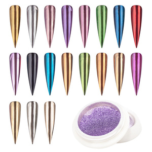 0.5g/bottle Chrome Nail Glitter Powder Magic Mirror Aurora Effect Dip Pigments Manicure Polish 19-Colors Nail Decor Pigment #FT