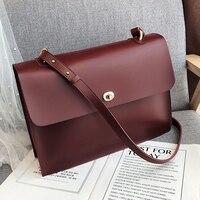 Burminsa Vintage Big Women Briefcase Large Capacity Office Work A4 Portfolio Soft PU Leather Ladies Shoulder Messenger Bags 2019
