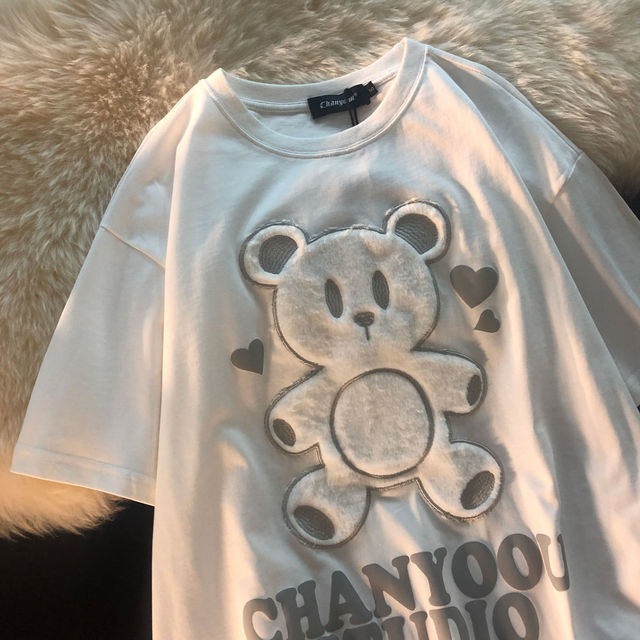 Cotton Japanese Love Bear Couple Short Sleeve Top 2021 Early Spring Oversize Loose sweatshirt for Women 4