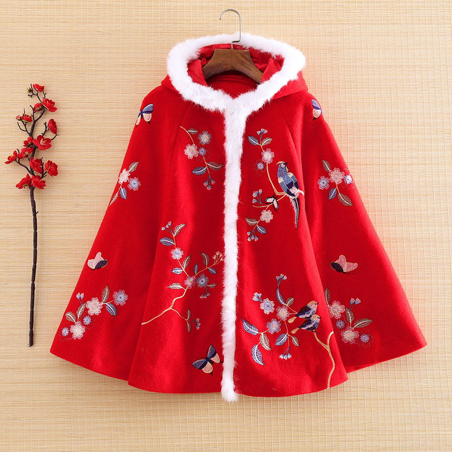 High-end New Year Women Wool Parka Outerwear Rabbit Hair Retro Embroidery Magpie Elegant Loose Lady Cloak Coat Female Tops S-2XL