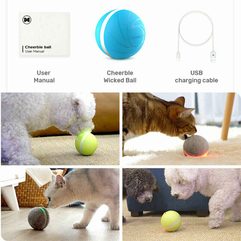 Funny Pet Dog Cat Jumping Activation Ball LED Light Flashing Bouncing Ball Puppy Toy