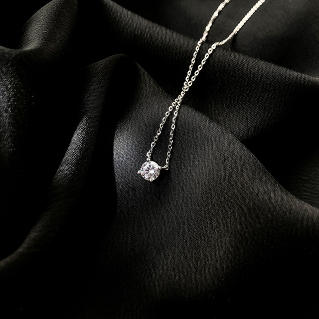 Trendy 925 Sterling Silver O-Chain Necklace 0.3cm/0.4cm/0.5cm Zircon Necklace For Women Gift Summer Fashion Jewelry NK033 5
