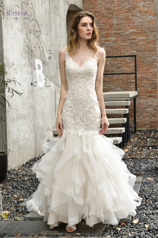 Vestidos De Novia 2020 New In Stock Mermaind Wedding Dresses Lace V Neck Bridal Gowns Wedding Dresses Bride Dresses
