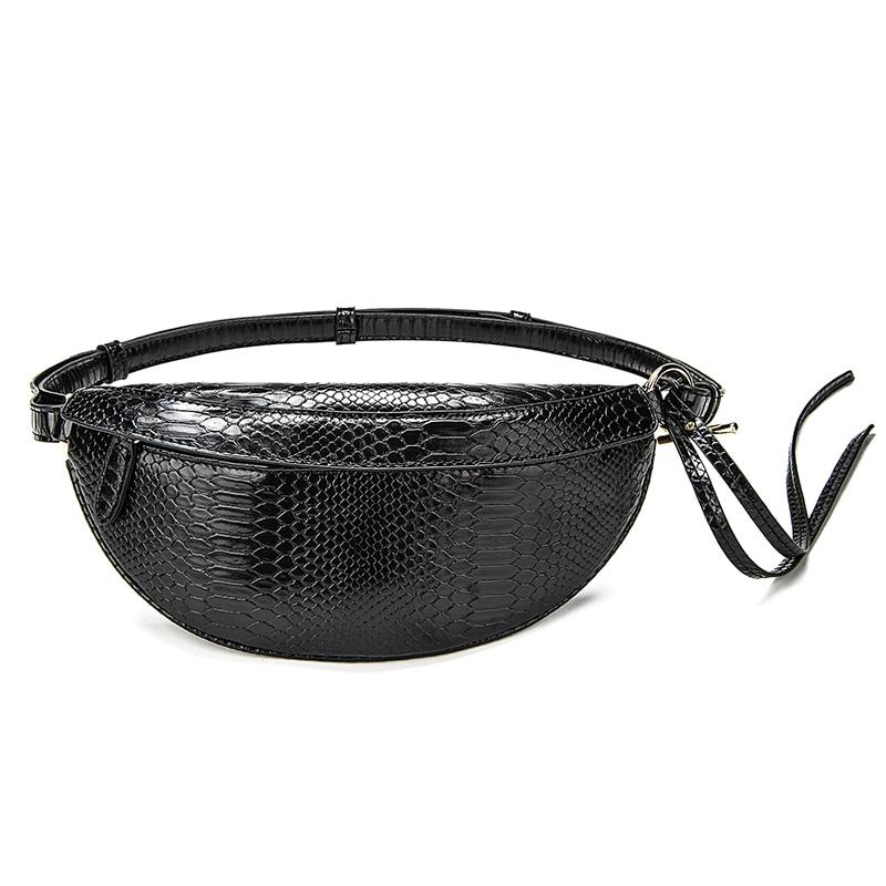 Fashion Women Waist Pack Snake PU Leather Casual Belt Bags Ladies Women's Chest Packs Waist Bag Pillow Crossbody Belt Wallet