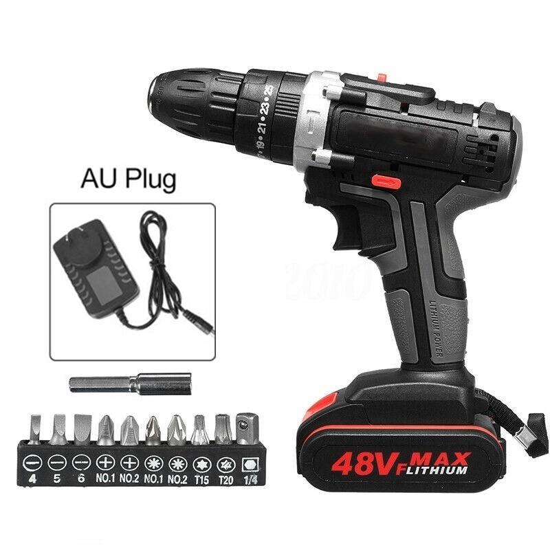 14 pièces/ensemble perceuse électrique sans fil clé à cliquet chargeur batterie 48V 1500mAh têtes de forage accessoires pour outils électriques