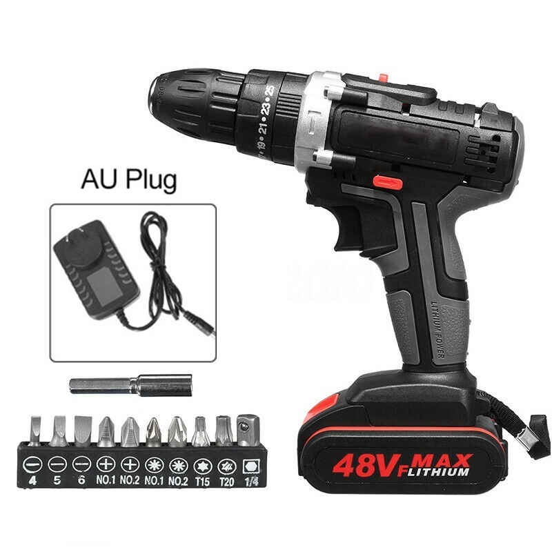 14pcs/Set Cordless Electric Drill Ratchet Wrench Charger Battery 48V 1500mAh Drilling Heads Power Tool Accessories
