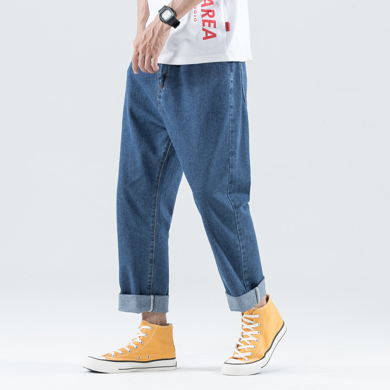 Hong Kong Style Capri Cowboy Pants Men's Popular Brand Students Loose-Fit Pendant Sense Straight Wide-Leg Korean-style Trend Sum