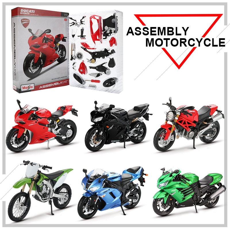 Maisto 1:12 Alloy Assembly Motorcycle Model Toy DIY Model Building Kits CBR600RR YZF-R1 Monster 696 Motor Models Toys For Kids