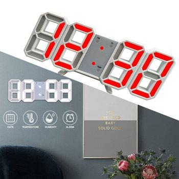 Nowoczesny Design 3D duży zegar ścienny LED cyfrowy USB zegary elektroniczne na ścianie podświetlany Alarm zegar pulpit Home Decor tanie i dobre opinie Marsnaska CN (pochodzenie) SQUARE 40mm DIGITAL 150g 235mm Zegarki z alarmem Z tworzywa sztucznego 85mm Nowoczesne Funkcja drzemki
