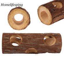 Wooden Animal Tunnel Exercise Tube Chew Toy Rabbit Ferret Hamster Guinea Pig Hamster Toy Tunnel for Small Pet Chewing Bite Toys