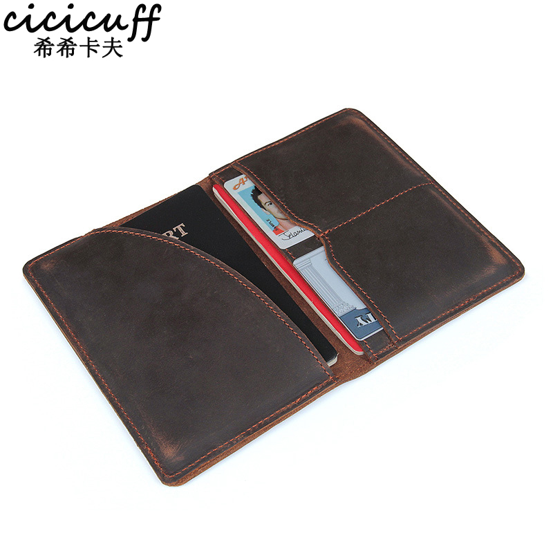 Passport Cover Genuine Leather Driver License Bag Crazy Horse Leather Car Driving Document Credit Card Holder Purse Wallet Case
