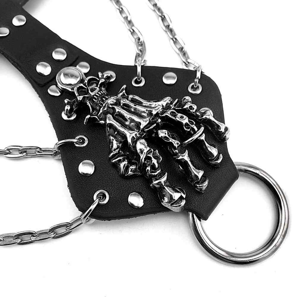 "Unisex Hip Hop Alloy Skull Rivet CHAIN สร้อยข้อมือ Punk ROCK Gothic Skeleton ถุงมือ, 7 ""-8"""