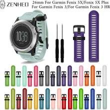 26mm color silicone strap For Garmin Fenix 3/3 HR frontier/classic bracelet 5X/5X Plus Smart Watch wristband