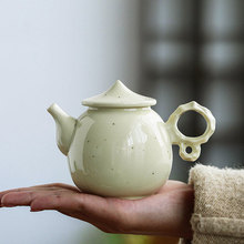 цена на Handmade Ceramic Teapot White Tao Dou Yellow Glaze Stone Teapot Kung Fu Tea Set Teapot Hand  Tea Pot with Infuser Blooming Tea
