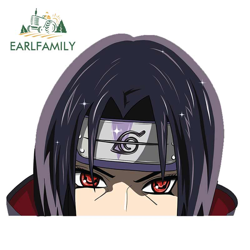 EARLFAMILY 13cm X 10.2cm For ITACHI Peeker Anime Peeking Sticker Window Car Vinyl Decal Car Truck Decal Bumper Personality