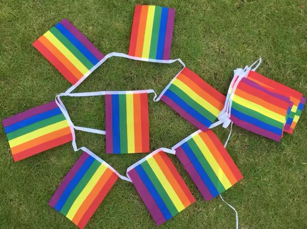 20 pçs arco-íris arco-íris da paz cordeira bandas da bandeira da bandeira do pássaro