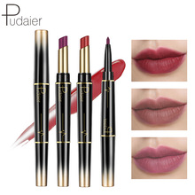 Pudaier Double Lipstick Lipstick Pencil, Matte Fog Face Lipstick, Rotating Lip Line Pen, Not Stained with Lipstick.