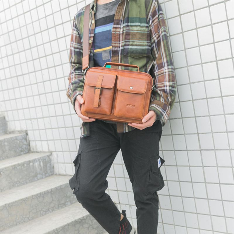 Men's Vintage Leather Briefcase Business Cases Shoulder Messenger Crossbody Bag Handbag F42A