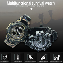 7 in 1 Outdoor Survival Watch Tactical Paracord Bracelet Watch with Compass Scraper Thermometer Paracord Whistle Camping Tools