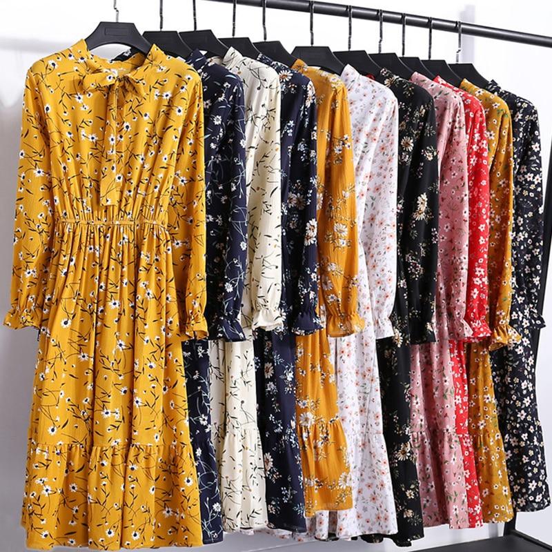 29 cores bonito moda primavera outono feminino vestido de manga longa gola retro casual vestidos magros floral impressão chiffon sexy