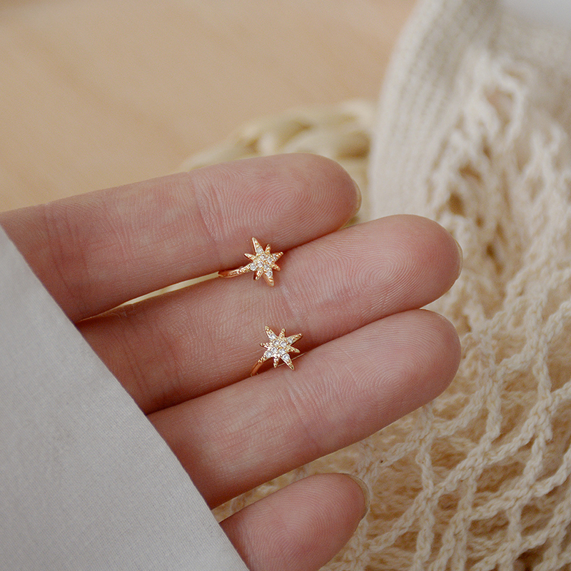 Luxury Micro Inlaid Six-pointed Star Tiny Earring No Pierced Ears AAA Zircon Clip Earring Charm Daily 14K Real Gold Brincos
