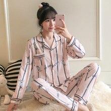 Новинка, женские пижамные комплекты, осенняя Милая одежда для сна с длинным рукавом и мультяшным принтом, пижамы для девочек, ночная рубашка для отдыха, одежда для взрослых