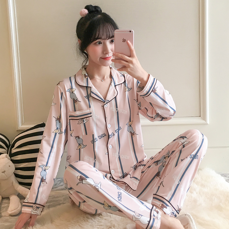2019 New Women's   Pajamas     Sets   autumn Long Sleeve Cartoon Print Cute Sleepwear Girl Pijamas Mujer Leisure Nightgown Adult clothes