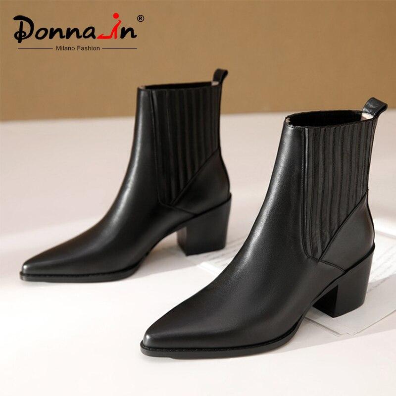 Женские ботинки на высоком каблуке Donna in, из натуральной кожи, с острым носком, черного цвета, на осень и зиму, без шнуровки, с эластичным реме