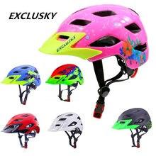 Exclusisky crianças capacete de bicicleta crianças meninos vermelho mtb bicicleta capacete da menina ciclismo proteção esporte boné tamanho 50 57 57cm para 5 13 13 anos d