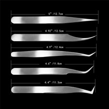 Eyelash Extension Tweezer Profession Bright Tweezers Lash Tweezer Straight Tip Stainless Steel Lash Clip Anti static Lash Tools