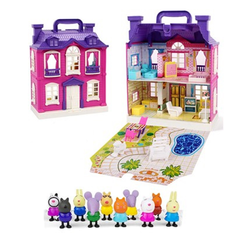 Peppa pig George Family Friend Toys House Dolls set Action model <font><b>Figure</b></font> Original Anime toy for children Cartoon Party dolls image
