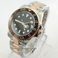 40mm bliger/estéril mostrador preto rosa ouro safira vidro cerâmica moldura gmt mão relógio automático masculino